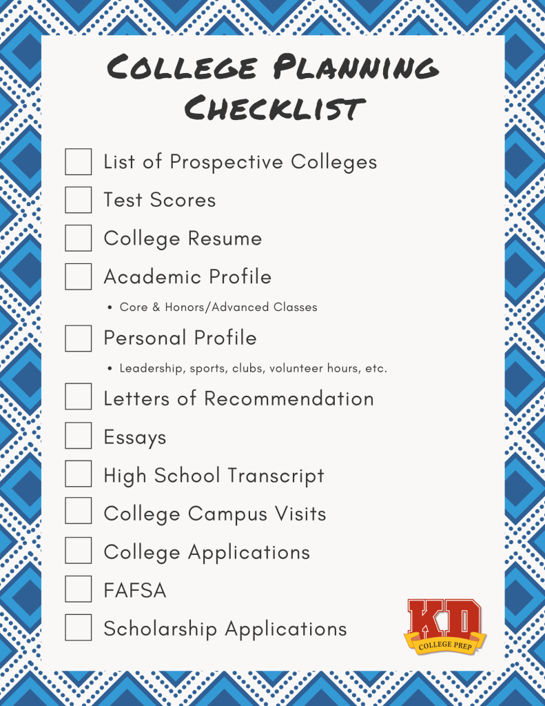 2020 college planning checklist